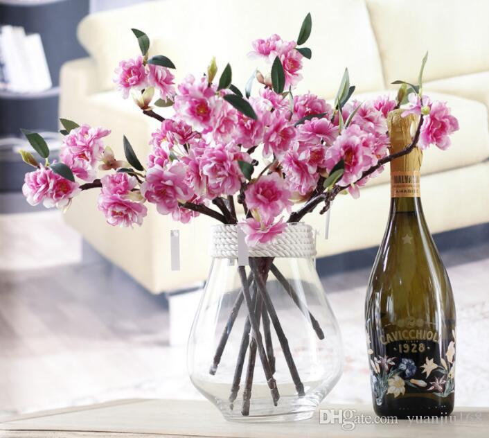 Faux artificielle Cherry Blossom Fleurs en soie nuptiale Hydrangea Home Décor blanc GB539