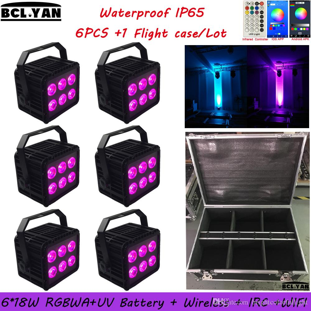 2019 NEW Waterproof led battery stage light WIFI & IR remote control led wireless dmx par can 6*18w RGBWAUV 6 IN 1 6XLOT6XLOT With Road Case