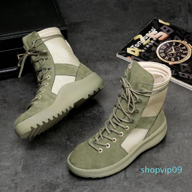 Neue gute Qualität KANYE Marke hohe Stiefel Best of God Militär Turnschuhe Hight Armeestiefel Männer und Frauen Mode Schuhe Martin bootsL26