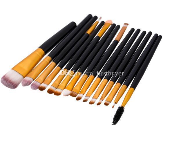 Outils de beauté 15pcs pinceaux de maquillage de haute qualité mis fondation brosse en bois mascara oeil yeux