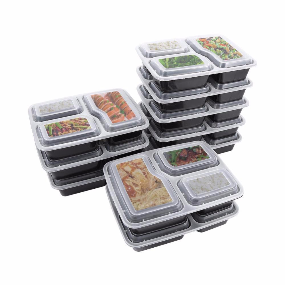 10 Plastic Reusable Lunch Boxes, Meals, Food, Lunch Boxes, 3 Reusable Microwave Containers, Household Lunch Boxes