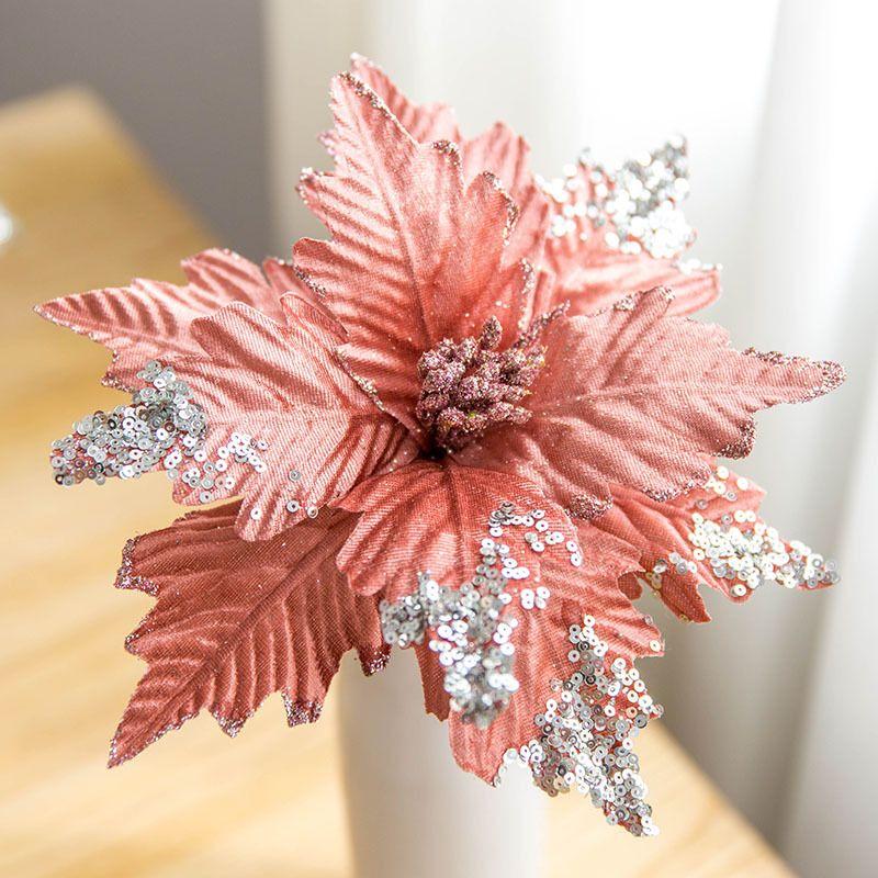 25 см большие искусственные цветы блеск ткани рождественские украшения цветок для свадьбы дома Новый год Рождественская елка декор