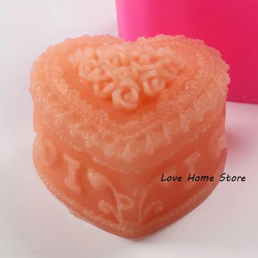 a forma di cuore 3D Rose Sapone stampo in silicone che fanno DIY del cioccolato del silicone della muffa del biscotto del biscotto Jelly Ice pattern di candela a mano facile da demould