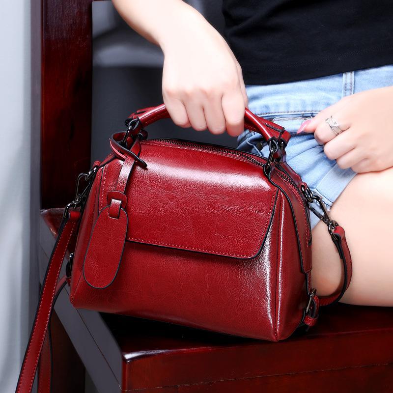 Mulheres Bolsas do couro do couro bolsa das mulheres de couro genuíno Top-handle Bag Moda Bolsa de Ombro Bolsa