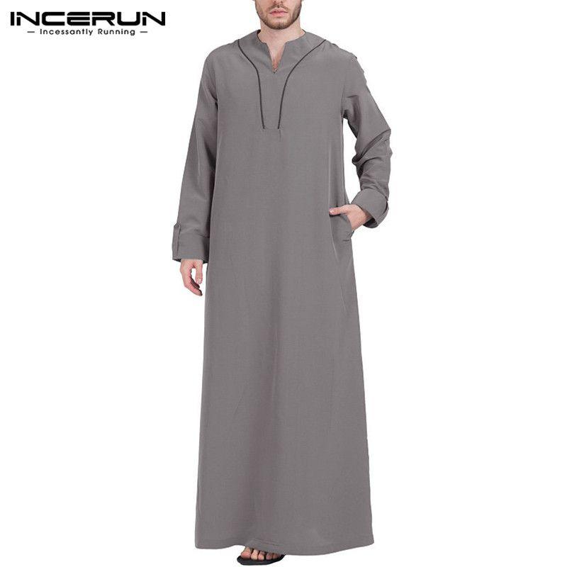 INCERUN hombres musulmanes Ropa Jubba Thobe de manga larga con cuello en V hombres Batas Dubai Arabia Saudita Abaya Thobe 2019 árabe islámica Kaftan