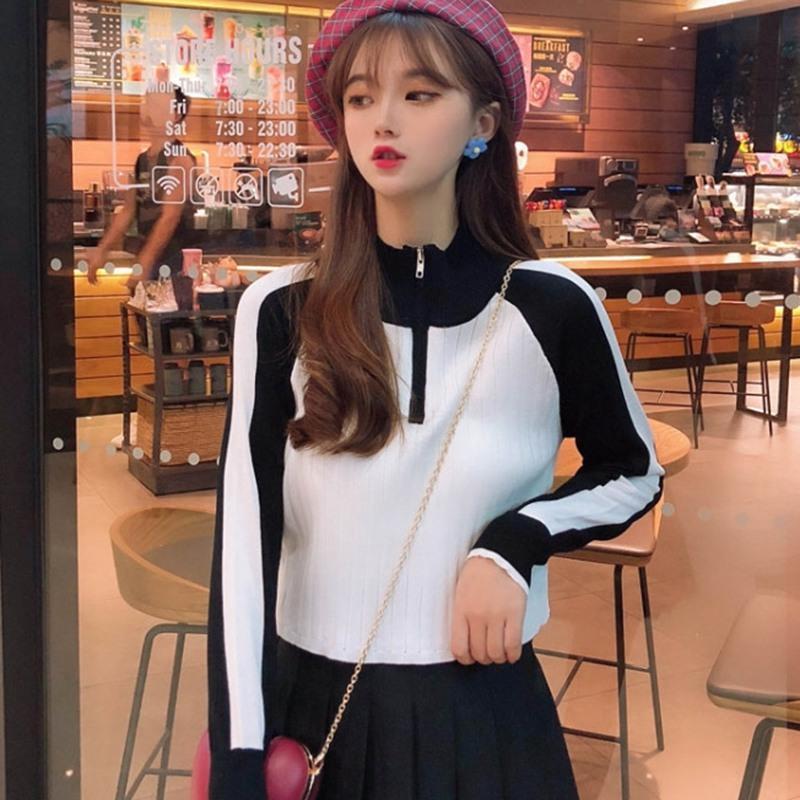 Triko Kadınlar Moda Turtleneck İlkbahar Sonbahar Sıkıştırılmış Örme Kazak İnce Yumuşak Jumper Triko Bayan Örme Tops patchwork