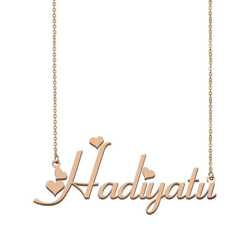 Nombre Hadiyatu, collar conocido de encargo para muchachas de las mujeres de los mejores amigos boda del cumpleaños de Navidad Madre Días regalo