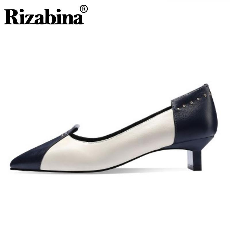 Rizabina Genuine Leather Women Pumps Mixed Color Shoes Women Pointed Toe High Quality Ladies Pumps Footwear Size 33-40