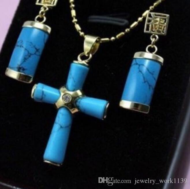 Ожерелье Великолепный бирюзовый нефрит «крест» ожерелье + серьги