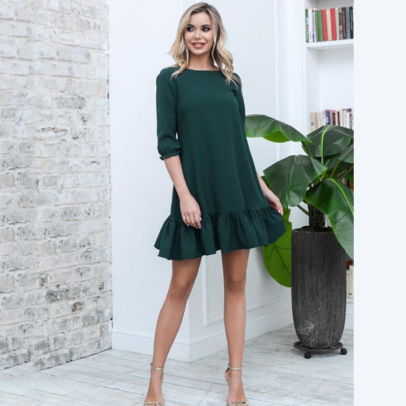 Lossky Frauen-beiläufigen Körper kräuselt lose Minikleid Art und Weise süßen Herbst Kurz O Ansatz halber Hülsen-elegante Dame-Partei-Kleidung