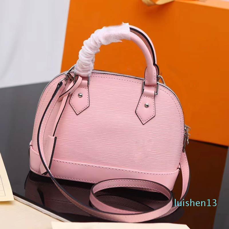 Designer-Donne Borse in vera pelle di alta qualità 5 colori ad acqua ondulazione Shoulder Bag ALMA PM piccola mano brevetto borsa guscio L13
