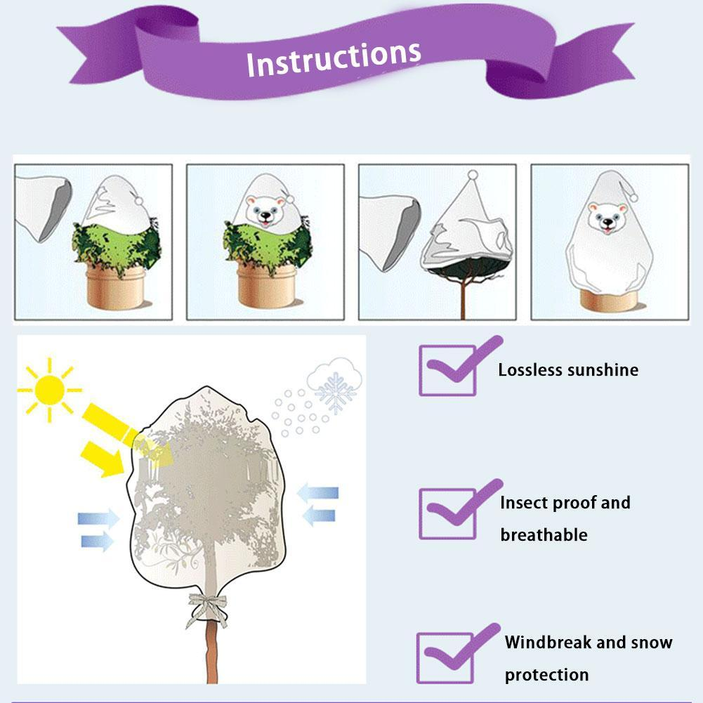 Durable Plant Protective Cover DIY Face Expression Warm Cover Winter Plant Frost Protection Cover Garden Tree Protecting Bag