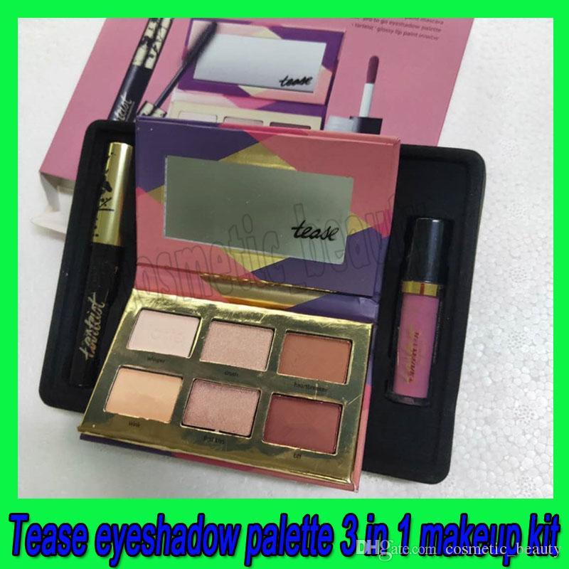 .Hot Makeup Set Lip Gloss + Eye Mascara + Tease Lidschatten-Palette 3 in 1 kosmetische Kit DHL-freies Verschiffen
