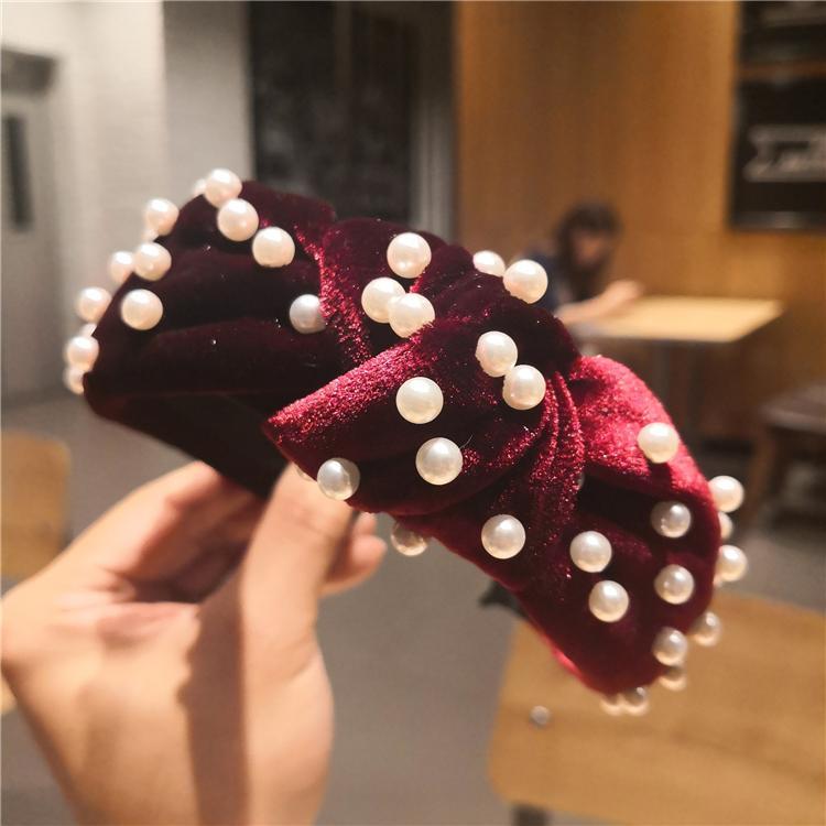 Diseño de la muchacha del arco rebordear completo del color del caramelo de terciopelo perla Pleuche demostrándole señoras de las mujeres Boutique palillos del pelo accesorio del pelo Encanto