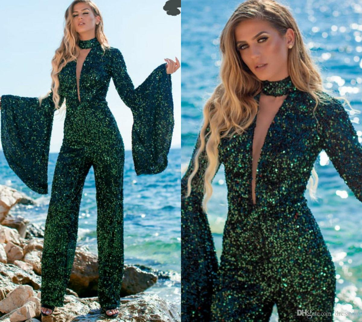 2019 Fashion Sequined Jumpsuits Halter Deep V Neck Bell Long Sleeves Prom Dresses Custom Made Ankle Length Luxury Evening Gowns Pant Suits