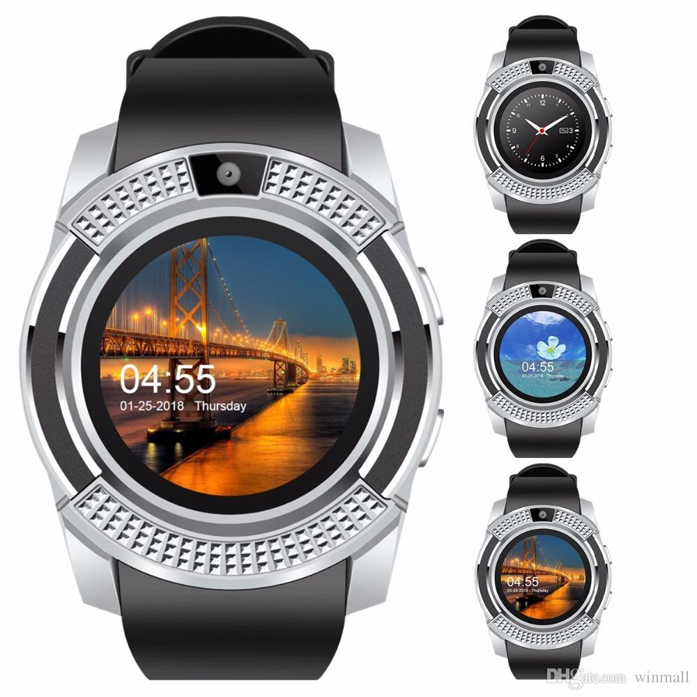 V8 Bluetooth Smart Watch 1.22 inch IPS Screen SIM Card GSM Quad-band Phone Call Notification With Camera Smartwatch