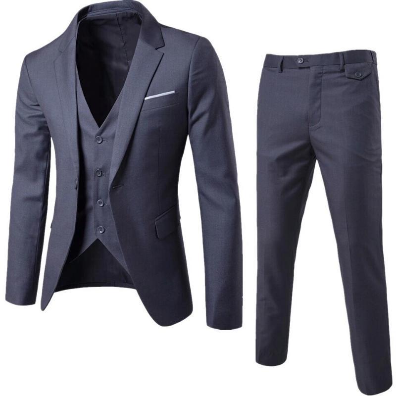 Костюм Homme серый мужские костюмы Мужские Slim Fit костюмы деловые мужчины свадебный смокинг блейзер Masculino 3 шт. куртка брюки жилет