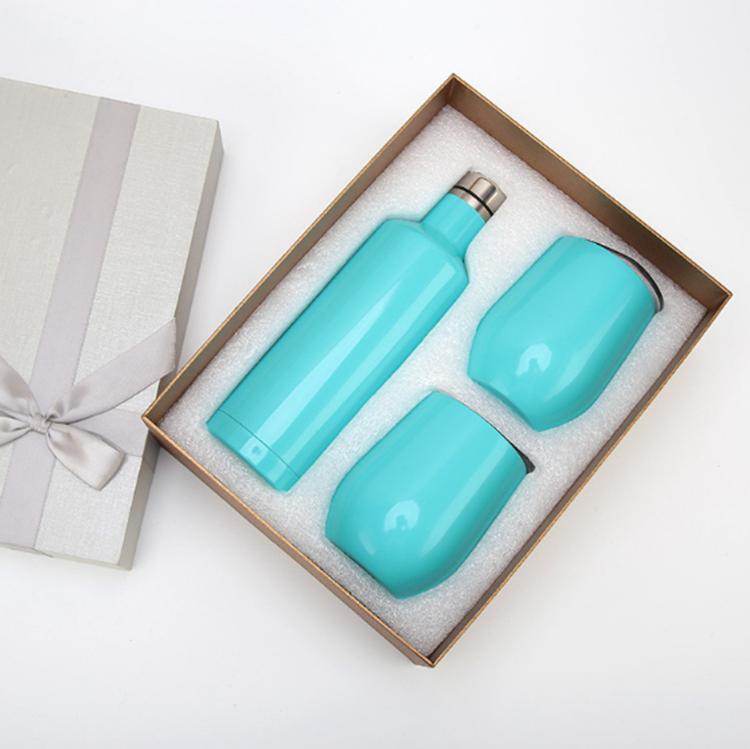 Nuevo regalo juego de vasos de vino paquete de botella de vino tinto de acero inoxidable con hueveras exterior con aislamiento de 12 oz vasos de doble capa 3pcs / lot YSY21Q