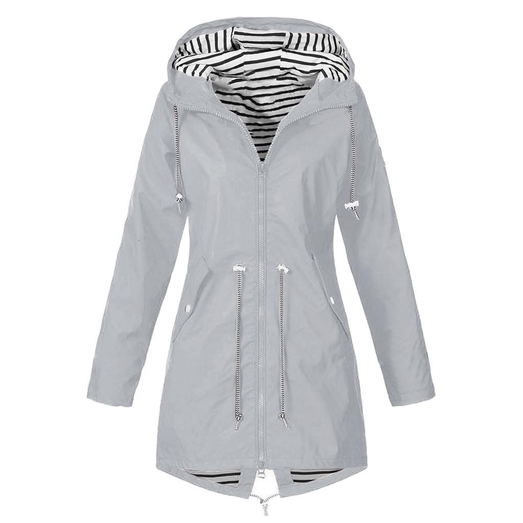 Women Solid Rain Jacket Outdoor Plus Size S-5XL Long Sleeve Waterproof Hooded Windproof Loose Coat T191023