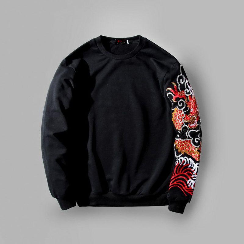 2019 New Arrival Fear God Untroductional Cotton T Shirt O-neck Full تطريز التنين شخصية الرجل والمرأة اللباس Tshirt Hip Hop Y200422