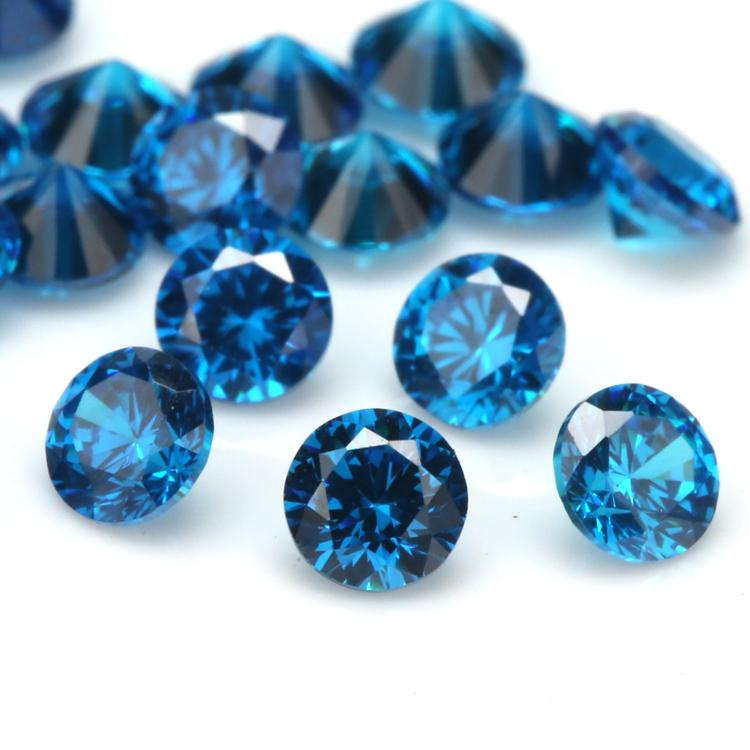 100pcs 5A Grade Dark SeaBlue Color 1.0~20mm Cubic Zirconia Stone Round Cut Loose CZ Stone Synthetic Gems