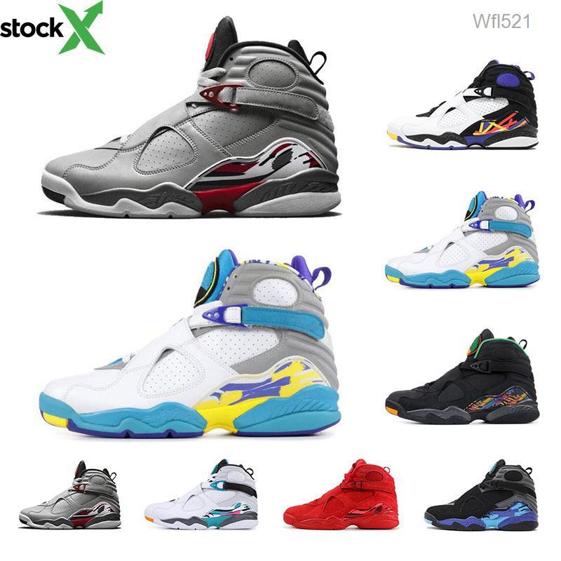 8s chaussures de basket-ball 2019 Top sport des hommes de qualité Aqua noir Saint Valentin Bugs réfléchissant 3M lapin 8 formateurs hommes chaussures de course
