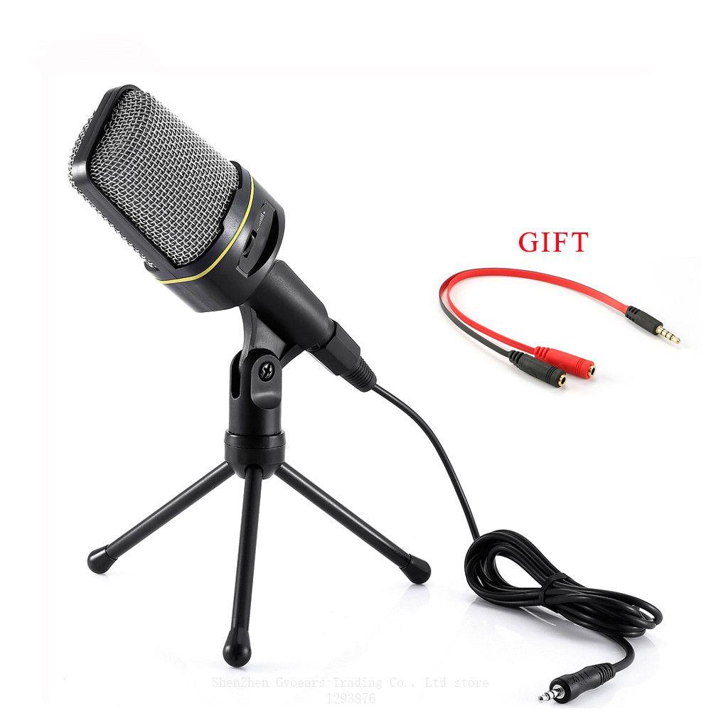 SF-920 микрофон компьютера Pofessional 3.5mm Проводной ручной микрофон с подставкой для телефона Запись Pc чат MSN Skype