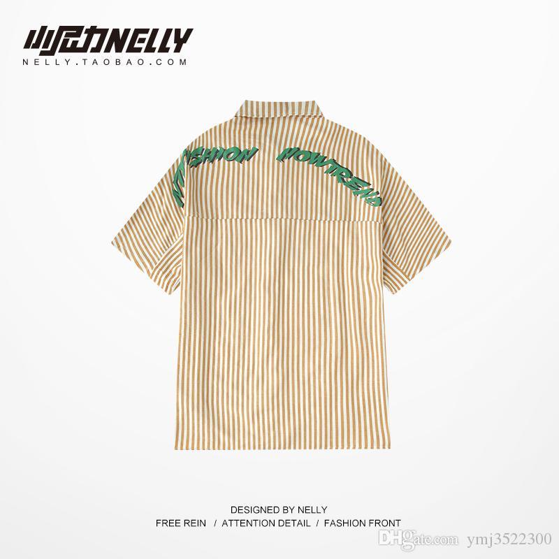 Ulzang gevşek BF stil moda hip hop gevşek moda mektubu stripes arkasında casual casual kısa kollu gömlek gömlek erkekler ve kadınlar