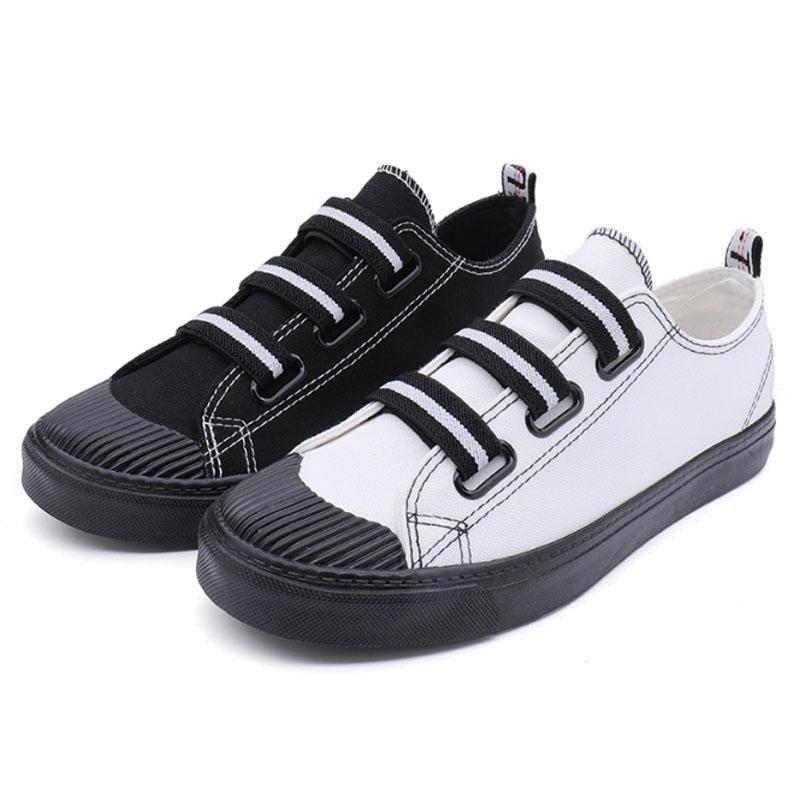 Öğrenci kanvas ayakkabılar erkekler yaz moda nefes düz sneakers kravat yok elastik kol tuval erkekler ayakkabı zapatillas hombre