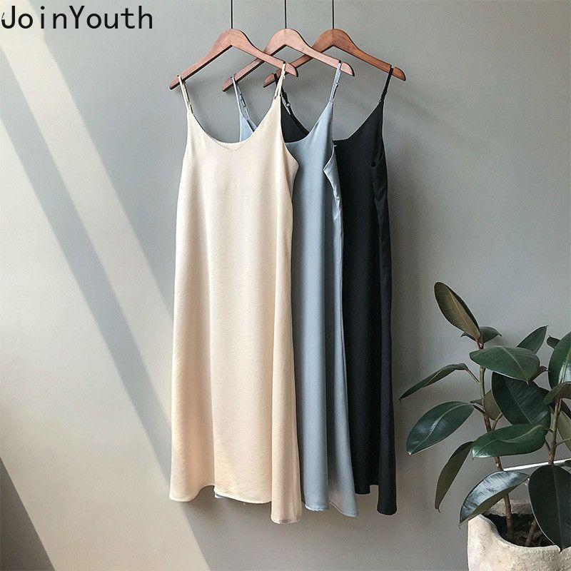 JoinYouth خمر الحرير الصلبة النساء اللباس 2020 أنيقة الخامس عنق طويل مثير فساتين الصيف الخريف 2020 الكورية سيدة Vestidos J005 T200318