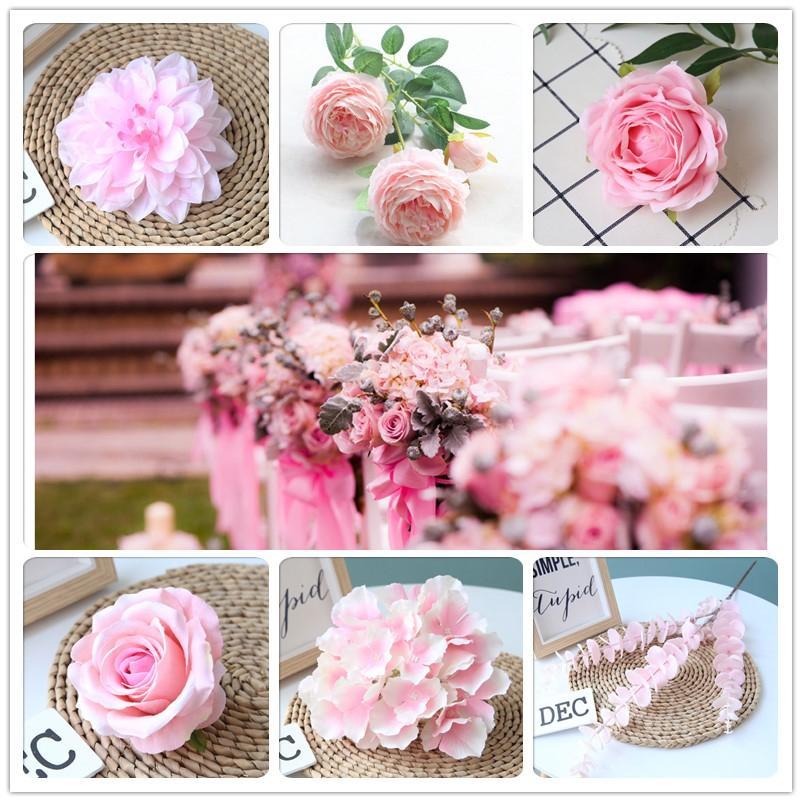 핑크 컬러 인공 꽃 웨딩 장미 모란 수국 식물 신부 꽃다발 웨딩 장식 DIY 홈 파티 가짜 꽃