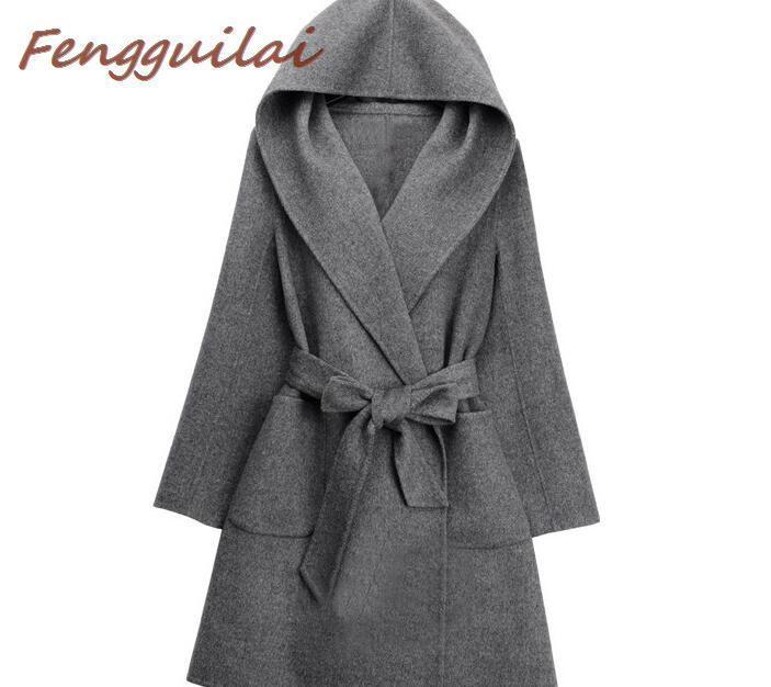 2020 Зима Осень Женщины шерстяное пальто с длинным рукавом Хаки Черный Серый Сыпучие Теплый шерстяной Толстая куртка с капюшоном Верхняя одежда Тяжелое