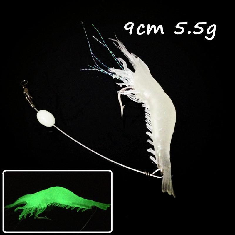 10pz 9 centimetri / 5.5g luminoso gamberetti Pesca Ganci morbide Esche Artificiali WL_140