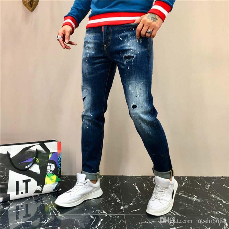 Salpicado pés calças outono e modelos finos chineses marca de moda das calças de brim dos homens homens inverno nas calças de cintura reta personalidade masculina