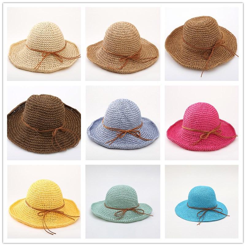 Arbeiten Sie Frauen Gras Stroh Falten breiten Sonnenhut Für elegante Dame Dame Sunbonnet Sun Schattierung Strand