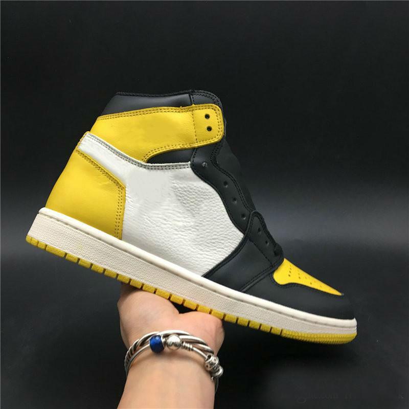2020 Toe New 1 High OG Yellow Man tênis de basquete Designer recente Eu Hi Res Amarelo Núcleo Preto Moda Sapatilhas