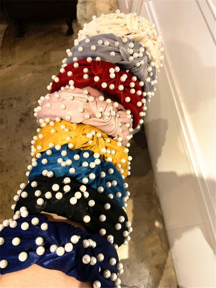 paño de coral banda de pelo con nudos de perlas Boutique palillos del pelo sólida para las vendas del pelo de las mujeres de la vendimia muchachas del estilo de los accesorios del hairband HN95