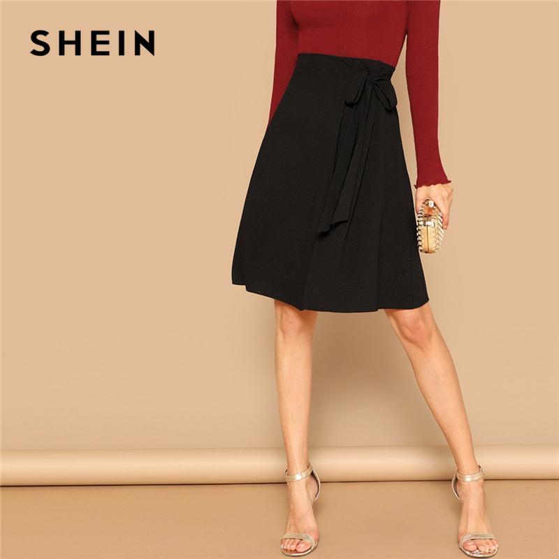 Shein Siyah Knot Yan Katı Yüksek Bel A Hattı Diz Boyu Etek Kadınlar Ofis Lady İlkbahar 2019 Yaz Zarif Kıyafetleri Etekler