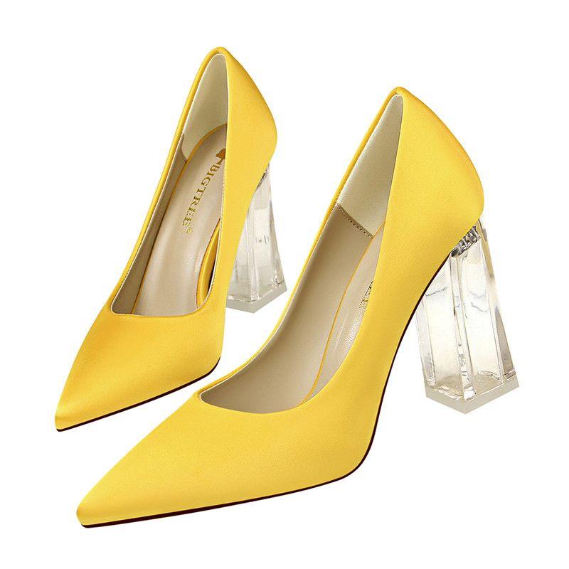 Женские сексуальные прозрачные коренастые высокие каблуки леди повседневные туфли на высоких каблуках сатин сандалии острым носом платье CT75