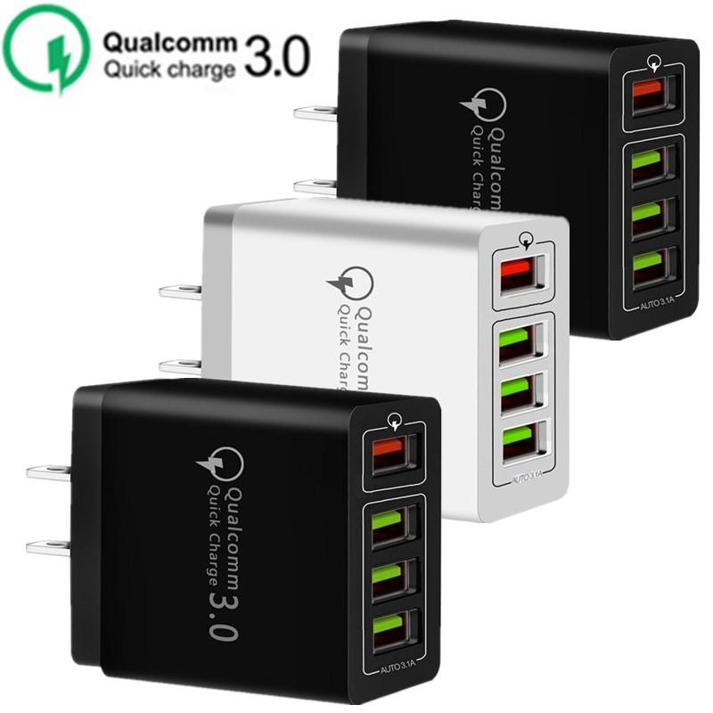 30W 4 portas USB telefone QC3.0 Ac Início viagem carregador de parede Poder Adpater Para Samsung HTC Android Pc Mp3