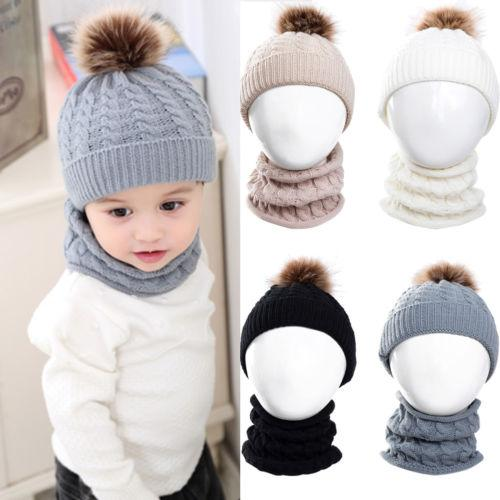 2pcs Baby Boy Knit For Girl Winter Hat Toddler Kid Warm Beanie Crochet Cap and Scarf Hot New Winter Kids Knit Hat Scarf Set