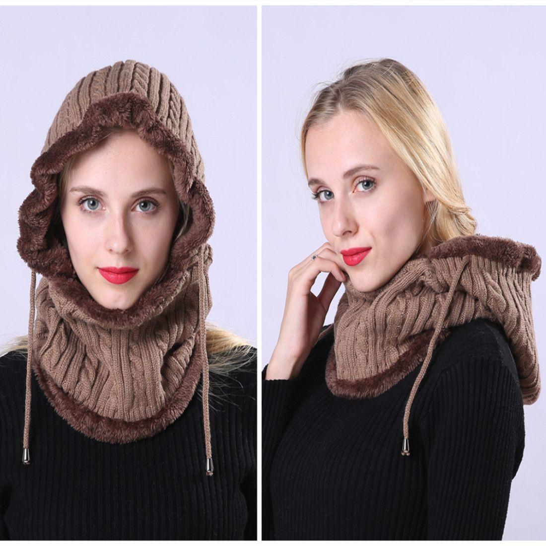 남성 여성 Skullies 비니 따뜻한 울 캡 발라 클라 바 모자 여성 니트 모자와 스카프 넥 워머 겨울 모자 6 색 DBC VT0883