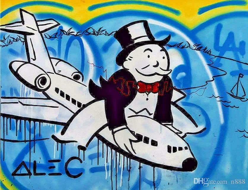 Wall Art Grande Immagine decorazione domestica dipinta a mano HD Stampa Alec Monopoly pittura a olio su tela di canapa Arte urbana Equitazione Aereo 191007