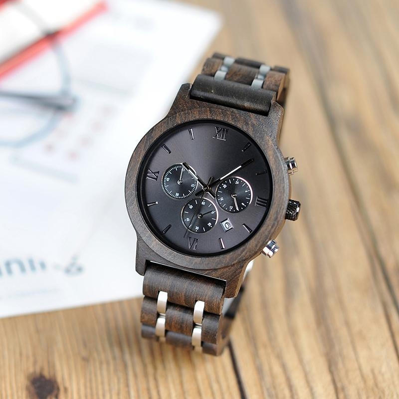 Fashion Big Brand Watches Men Date Calendar Display Chronograph Metal Wood Timepiece Great Gift for Boyfriend Husband
