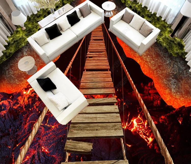 Autoadhesiva piso del papel pintado 3D impresionante Volcán cuerda Puente de suelo de lava etiqueta dormitorio antideslizante impermeable Wall Papers