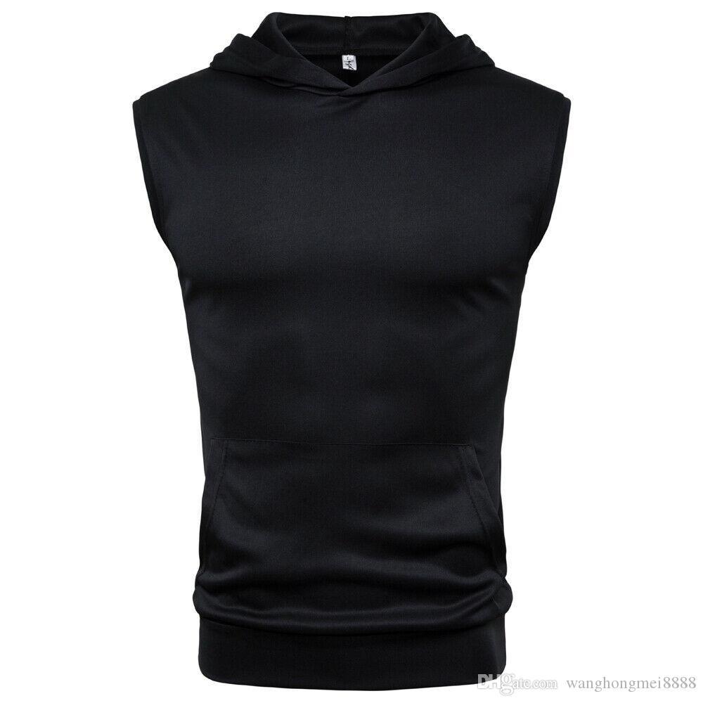 T-shirt sans manches à capuche pour hommes Bodybuilding d'été Gilets Sportswear Entraînement solide doux Casual T-shirt à capuche Vêtements pour hommes Fitness Tops