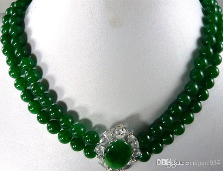noblest 2 row 8mm green jades wedding pendant necklace