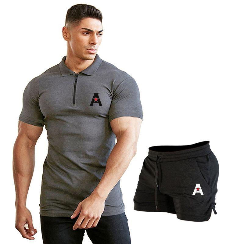Sommer Kurzarmhemd menTurn-over-Kragen Art und Weise beiläufigen dünnen atmungsaktiv Print Business Sets Hemd der Männer Shorts Set