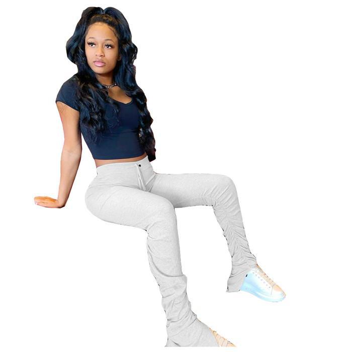 Katı Renk Yığın Pantolon Bayan Seksi Egzersiz Gym Tozluklar Spor Spor Pantolon Atletik Pantolon Kadın Pantolon Yığılmış Sweatpants Kadınlar