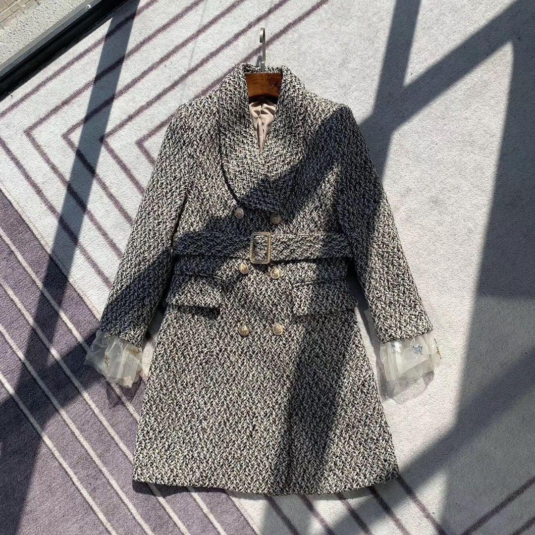Конструктор женщин Plaid Blazer Длинные толстые марлевые рукава 2019 осень зима Новый Марка куртка для Леди Мода Плед Женщины Luxury одежда S-L